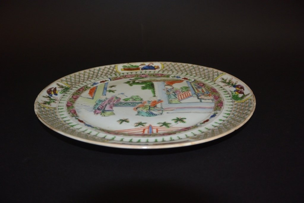"""Chinese famille rose """"gathering"""" plate"""