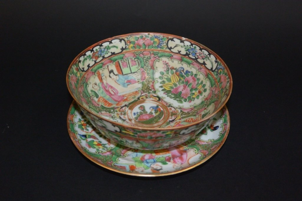 Chinese familee-rose bowl and a saucer