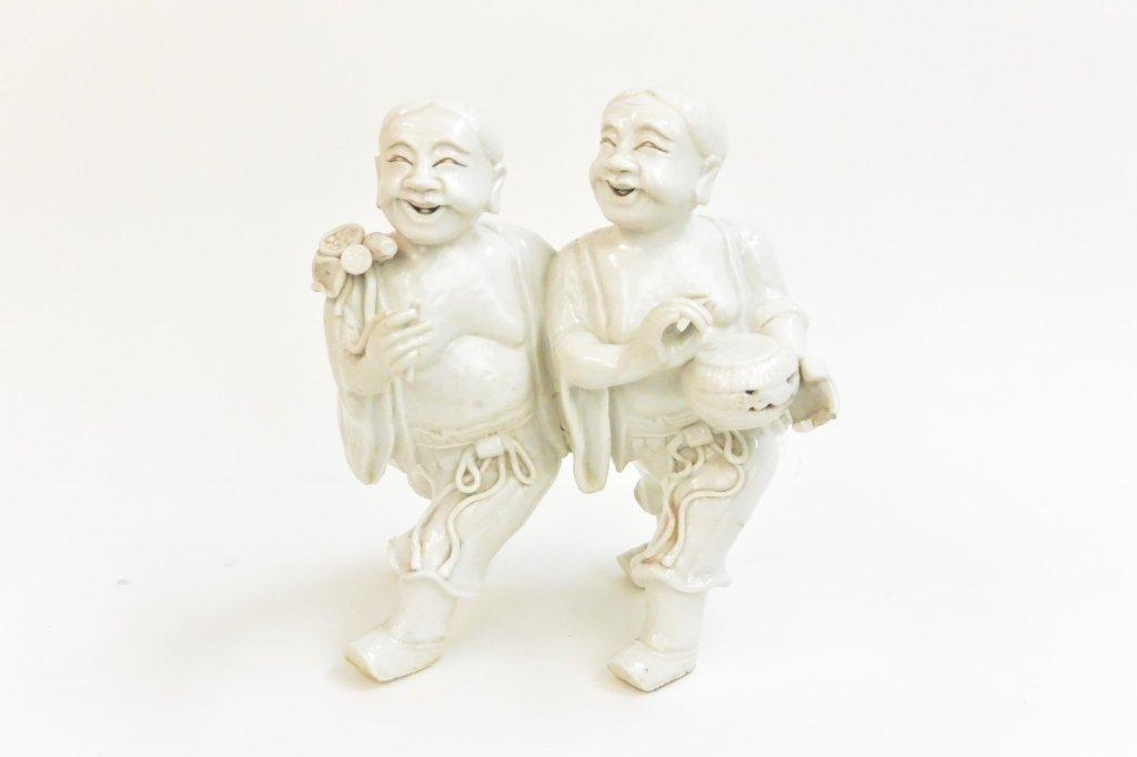 "Chinese Qing Period ""Two happy men"" Blanc de China"