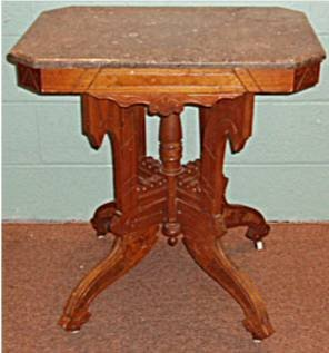 1005: 1800's Victorian Gray Marble Top Parlor Table