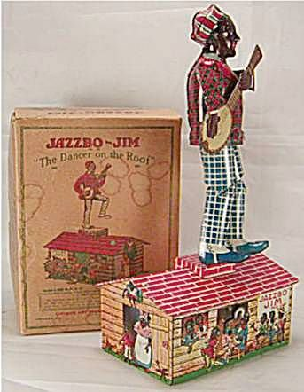1088: Unique Art Jazzbo Jim with Box, 9 1/2 Inch High