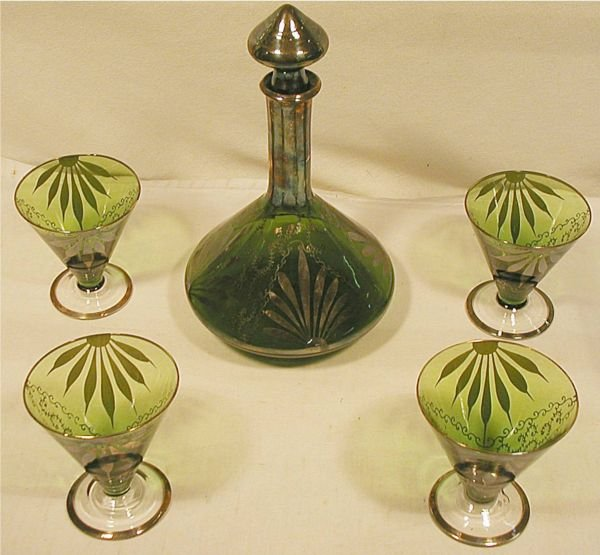 1002: Silver Overlay Decanter Set with Four Matching Gl