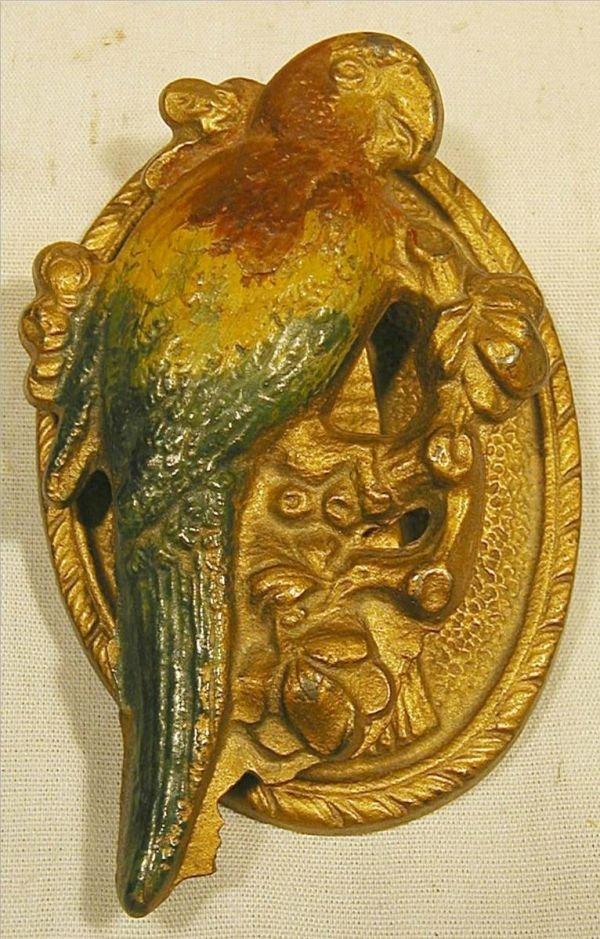 1013: Vintage Parrot Door Knocker, Painted, Brass, 4 1/