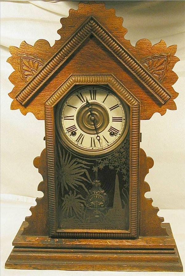 1017: Juno Ingraham Victorian Shelf Clock, works