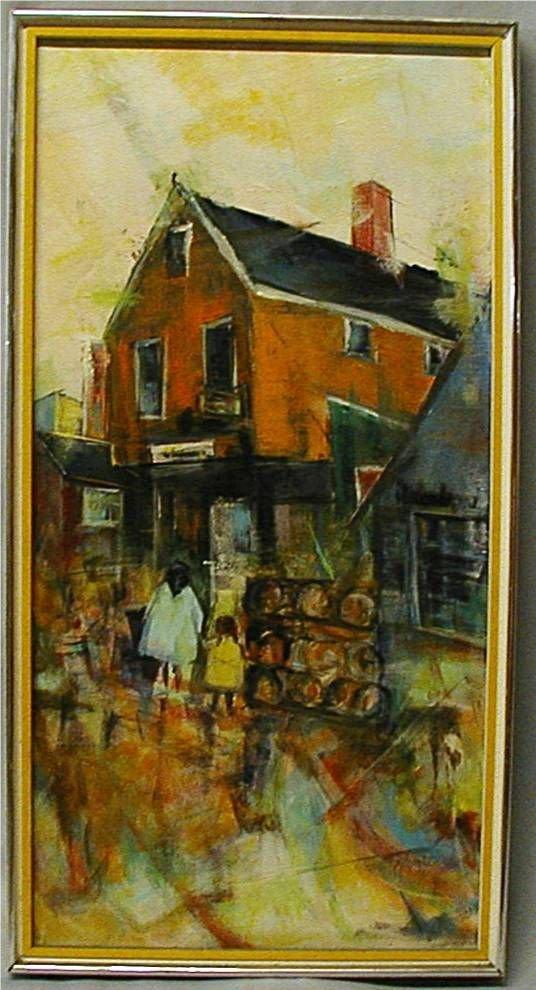 1008: Tourists by Hal Hunter Framed, 31 1/2H x 16 1/2W
