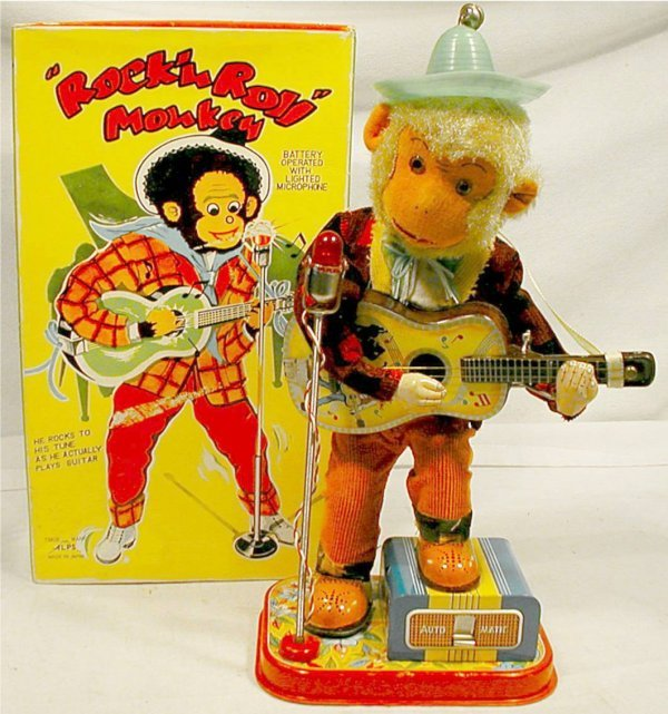 3005: Rok'N Roll Monkey, Battery Operated, Alps w/Box