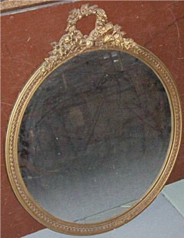 3015B: Gold Leaf Carved Ribbon Floral Top Round Mirror
