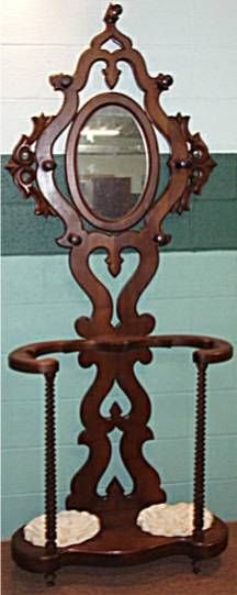 2005: Victorian Barley Twist Parlor Coat Rack with Mirr