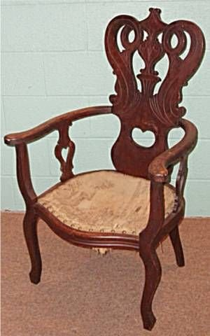 2001: Tapestry Seated Carved Filigree Arm Chair, 40H x