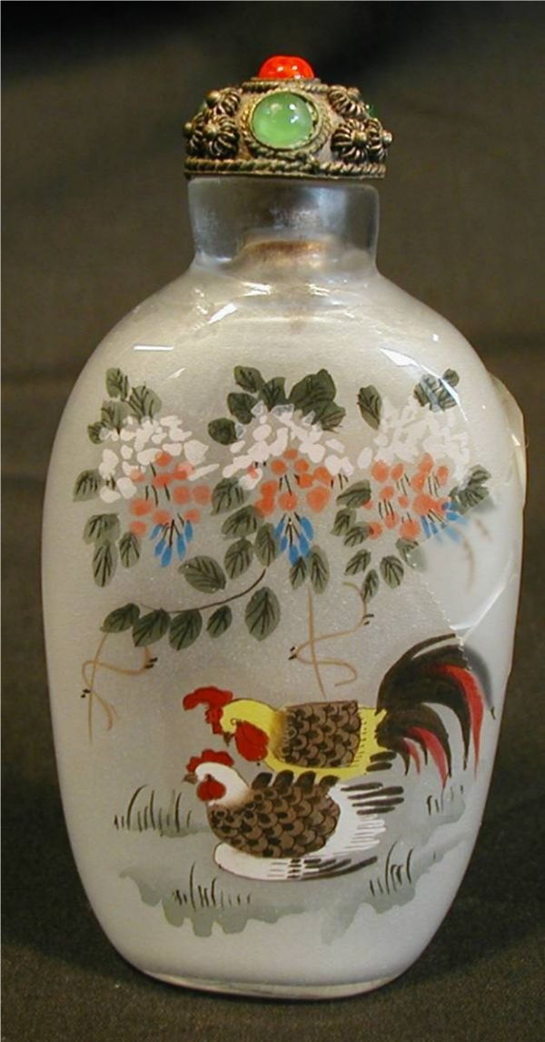 2004: Opium Snuff Bottle, Hand Painted, Roosters, 3 1/4