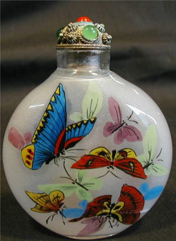 2017: Opium Snuff Bottle, Hand Painted, Butterflys, 3 H