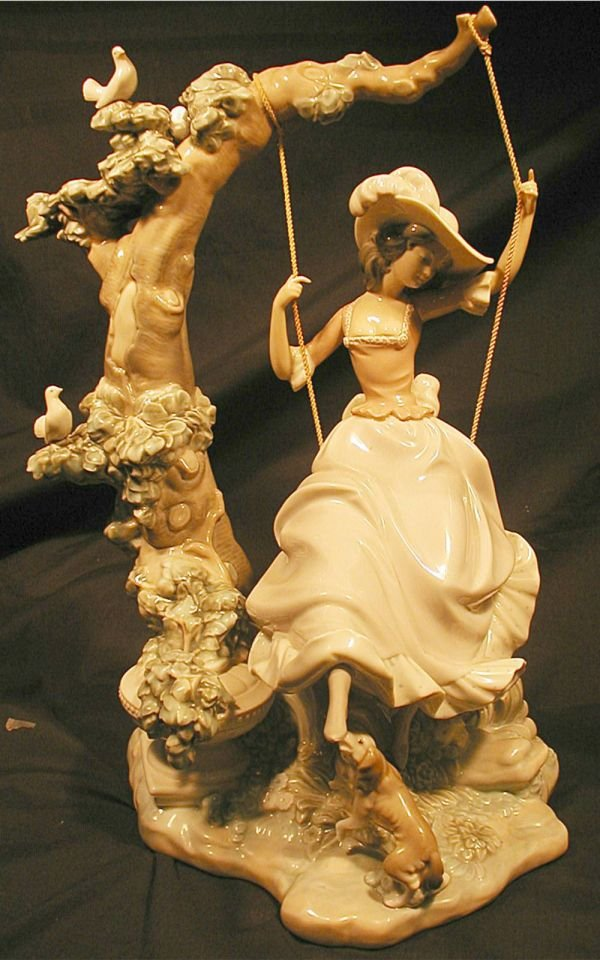 2081: Lladro Victorian Girl on Swing, Excellent Conditi