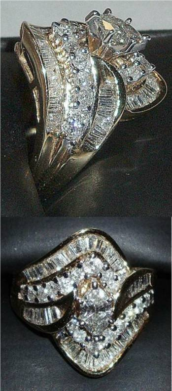 4001: Marque Diamond Cocktail Ring set in 14K