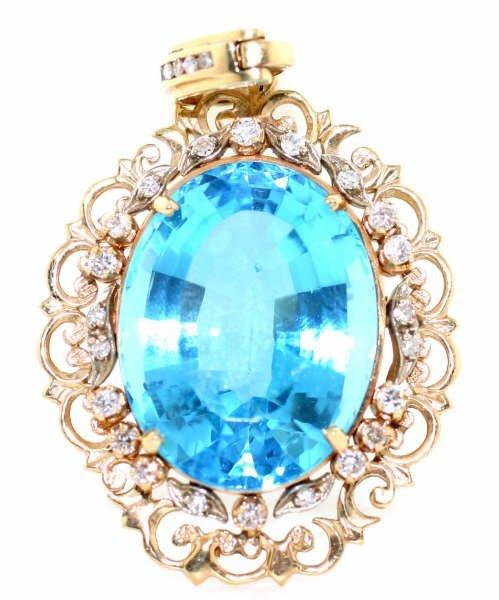 4002: 100ct Diamond & Blue Topaz Pendant in 14kt