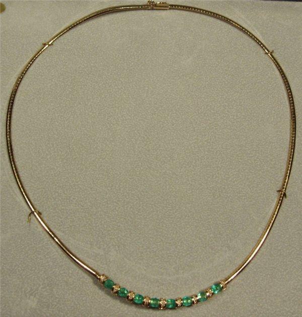 4008: Genuine Columbian Emerald & Diamond Necklace