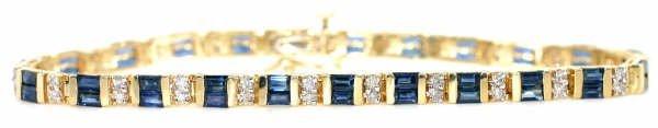 4011: 14ct Diamond & Sapphire Bracelet in 14kt