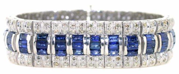 4015: 29ct Diamond & Sapphire Bracelet in 18kt WG w/$49