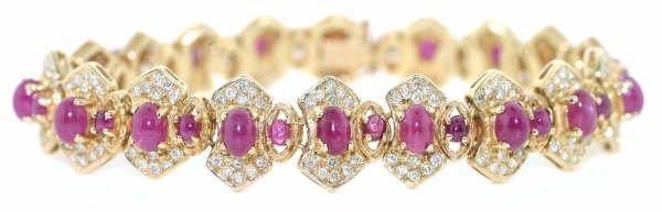 4024: 22ct Diamond & Ruby Bracelet in 14kt YG