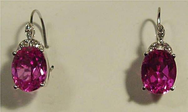 4012: Pink Saphire and Diamond Earrings Set in 10K. WG
