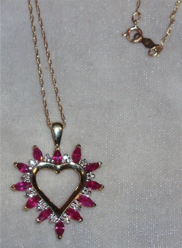 4021: Genuine Ruby and Diamond Heart Necklace