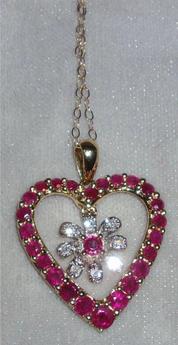 4023: Burmese Graduated Ruby Heart Necklace