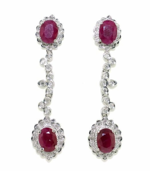 4007: 6ct Diamond & Ruby Chandelier Earrings in18kt WG