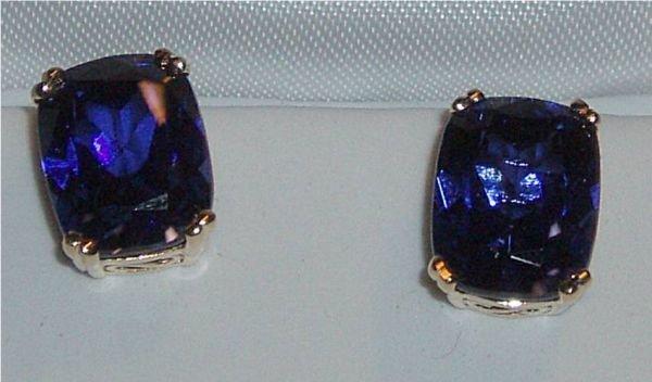 4095: 4 Carat Emerald Cut Saphire Earrings, 14Kt. Gold
