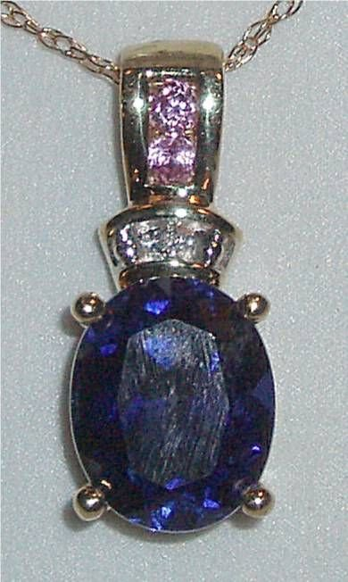 4107: Blue Saphire Oval Pendant with Diamonds and Pink