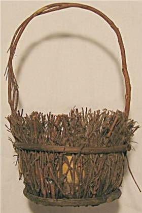 5008: Dakota Sioux hand made twig basket circa 1903 Sta