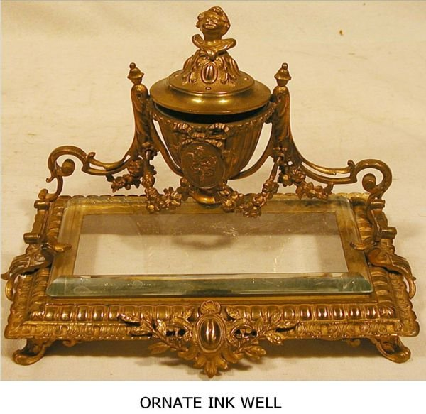 1006: Ornate Ink Well plus Holder with Pen, 7W x 4D x 6