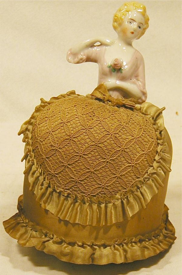 1009: Porcelain Lady Pin Cushion with Skirt, 7H x 5 Dia