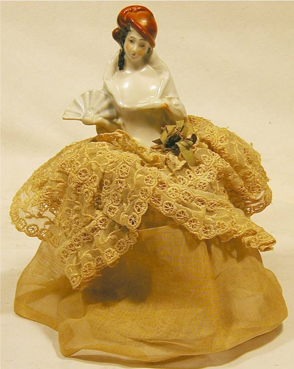 1012: Porcelain Lady Pin Cushion with Skirt, 7H x 3 Dia