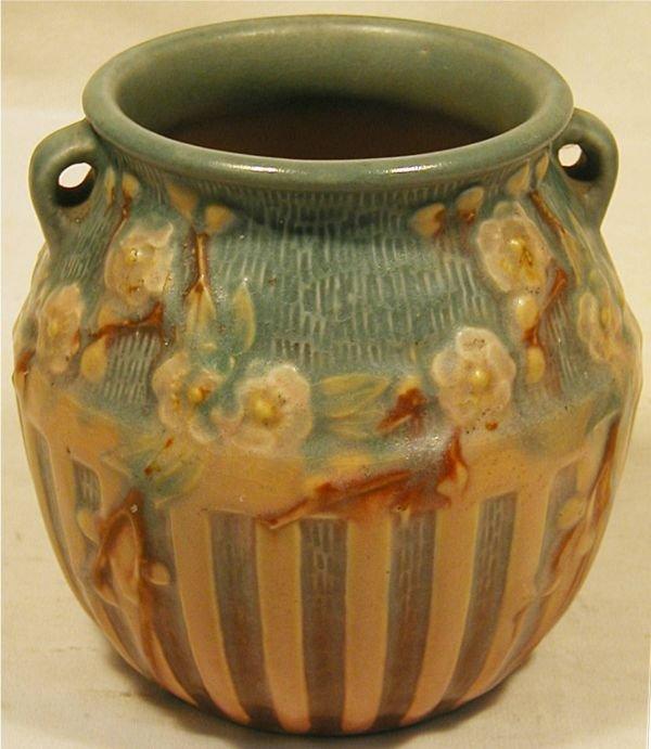 1067: Roseville #619-5 Cherry Blossom Vase, Excellent C
