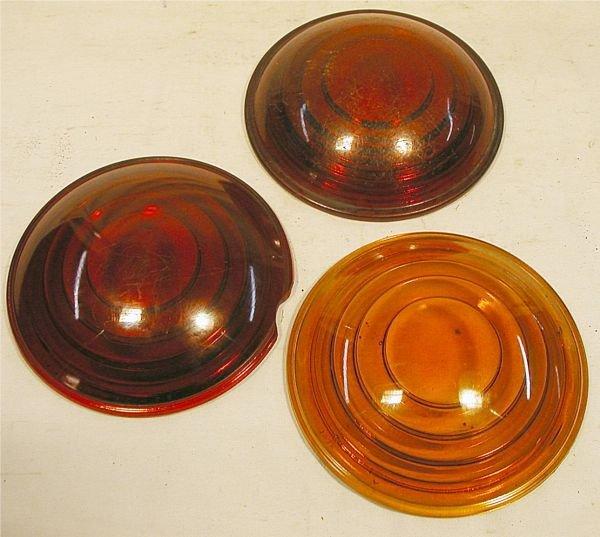 1013: Railroad Lantern Lenses 5 1/2 Dia., One Red one h