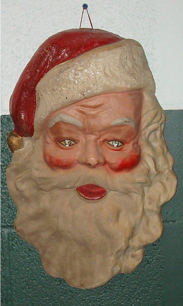2001: Vintage Paper Mache Santa Claus Face