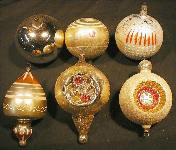 "2007: Set of Six Vintage Glass Ornaments, Approx. 4 ""L"