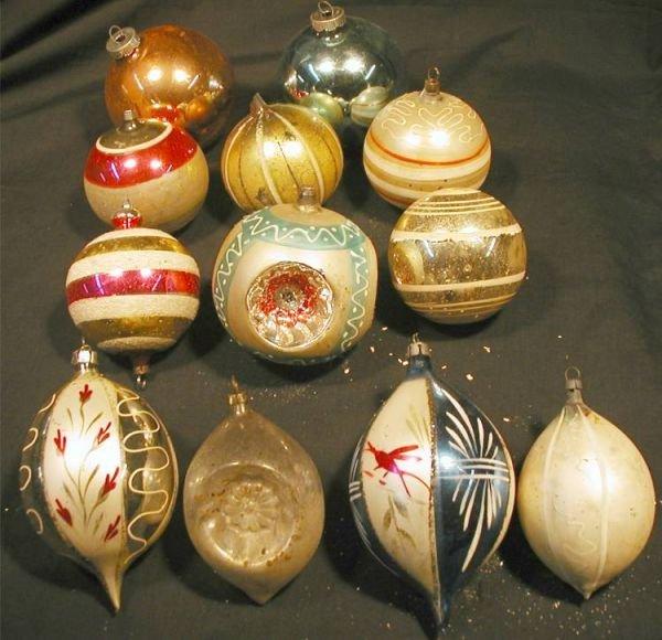 2015: Set of Twelve Vintage Glass Ornaments, Approx. 4