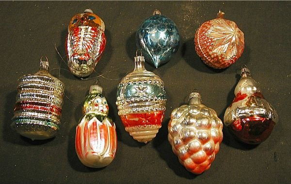 """2024: Eight Vintage Glass Ornaments, Approx. 3"""""""