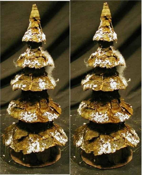 2010: Two Paper Mache & Moss Bark Miniature Christmas T