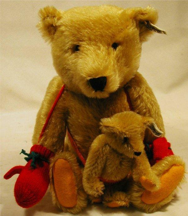 """3037: Steiff Teddy Bear 10""""H, Jointed, Ear Button & Tag"""