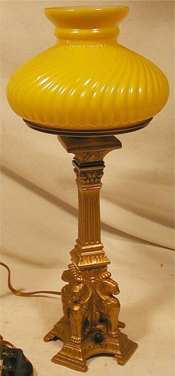 3012: Vintage Griffen Base Student/Banker's Lamp, 14H