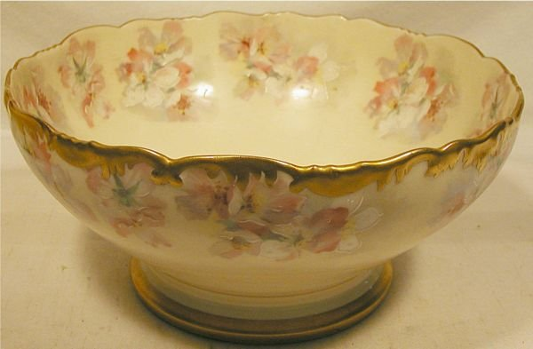 3016: Limoge Hand Painted Footed Bowl, 9 1/4 Dia x 4 1/