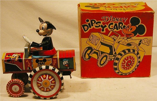 "5020: Marx Mickey Mouse Dipsy Car with Box, 5 1/4"" Long"