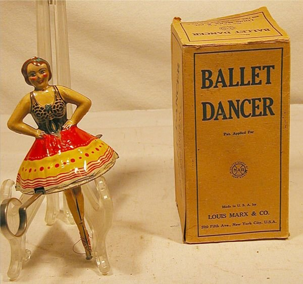 "5016: Marx Ballet Dancer with Box, 5 3/4"" H, Tin Litho"