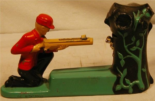 "5017: 1960's The Hunter Mechanical Bank, 8""L, Very Go"