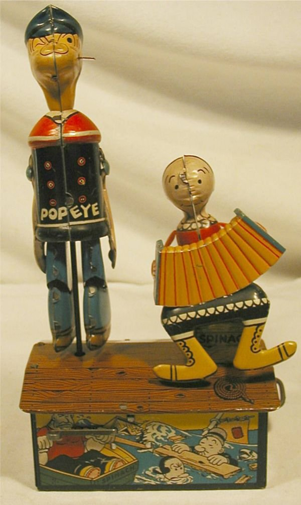 6002: Marx Popeye & Olive Oyl Jiggers, Excellent Condit