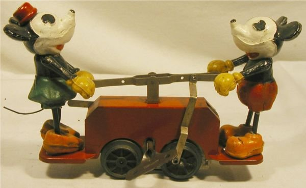 """6012: Lionel Mickey Mouse Handcar, 1930's, 7"""" long wi"""