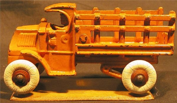 6017: Arcade Mack Stakeside Truck, Cast Iron, on Stand,