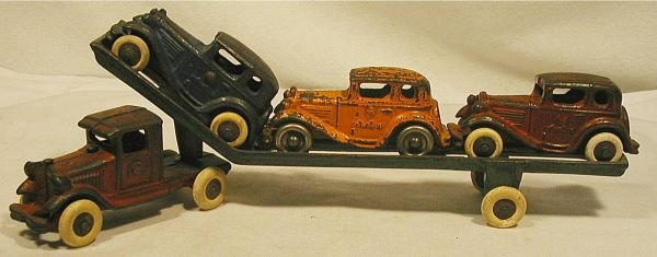 6022: AC Williams Car Carrier with Three Austins, 1920,