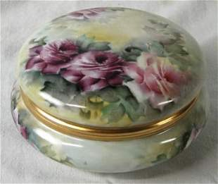 Limoges TV Hand Painted Covered Dish